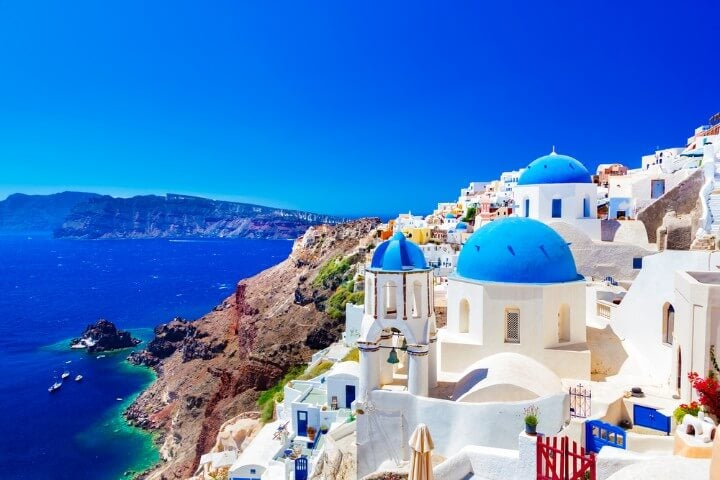 Santorini island - white houses and blue domes